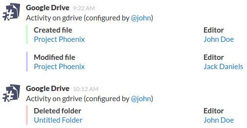 Google Drive to Slack integration